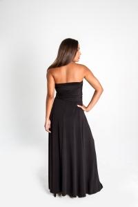 Turquesa, Vestido CINCO EN UNO, lycra negra, opción strapless, de espalda