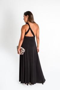Turquesa, Vestido CINCO EN UNO, lycra negra, opción espalda un tirante.