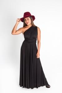 Turquesa, Vestido CINCO EN UNO, lycra negra, opción hombro descubierto.