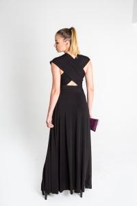 Turquesa,  Vestido CINCO EN UNO, lycra negra, opción espalda cruzada.
