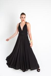 Turquesa,  Vestido CINCO EN UNO, lycra negra, opción escote griego.