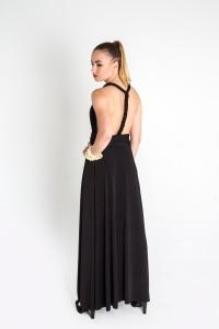 Turquesa,  Vestido CINCO EN UNO, lycra negra, opción trenza francesa.