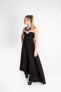 Turquesa,  Vestido CINCO EN UNO, lycra negra, opción strapless.