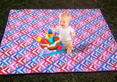 Mat para el aire libre, algodón y toalla, diseñado por Irene Piedra Batalla, Turquesa slow-fashion.