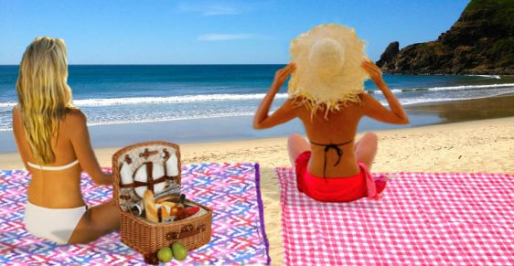 Mat para la playa, algodón y toalla. Turquesa slow-fashion. Diseño, Irene Piedra Batalla.