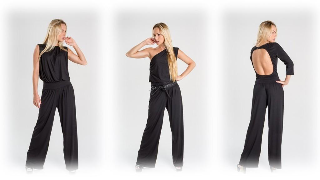 Turquesa, slow- fashion, enterizos en azul y negro, con diferentes escotes- Irene Piedra.