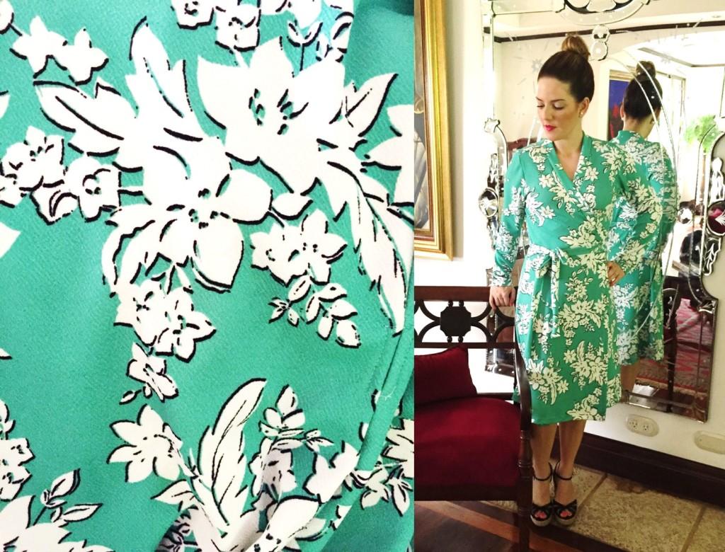 Turquesa slow-fashion, vestido wrap, estampado floreado turquesa y blanco en tela Liverpool. Diseño, Irene Piedra Batalla.