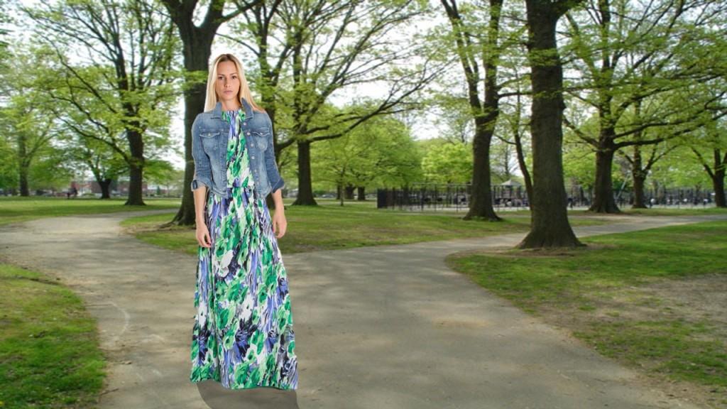 Una jacket de jeans puede ser la mejor compañera para un vestido largo floreado... este modelo, de Turquesa Slow Fashion.