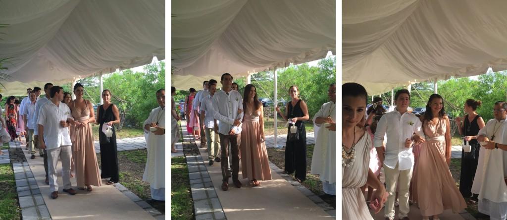Las damas de honor, desfilando con sus vestidos infinitos. Turquesa Slow- Fashion. Irene Piedra Batalla.