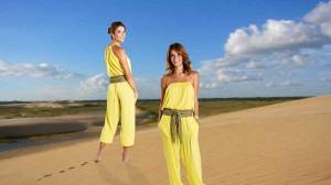 Enterizos en chiffón crepé amarillo, diseño de Irene Piedra Batalla para Turquesa Slow Fashion.