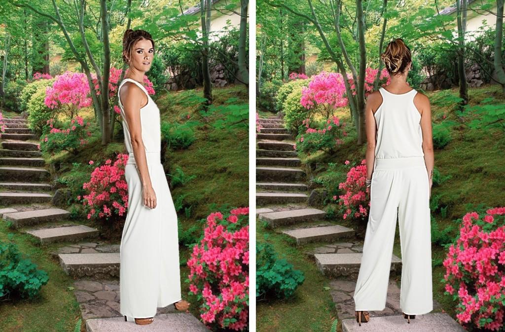 Enterizo blanco sin mangas, Turquesa Slow Fashion, diseño de Irene Piedra Batalla.