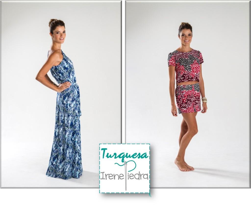 Turquesa Slow-Fashion. Diseños de Irene Piedra Batalla: Vestido largo estampado en lycra y juego de shorts en villela estampada.