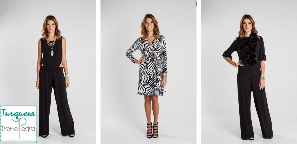 Tres opciones de muchas posibilidades de Turquesa Slow Fashion. De izquierda a derecha, enterizo negro sin mangas, vestido wrap estampado en blanco y negro y enterizo negro de manga tres cuartos.