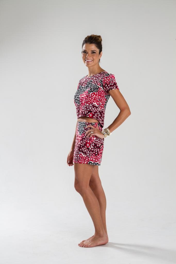 Juego de blusa y short estampados en villela. Diseño de Irene Piedra Batalla. Turquesa Slow-Fashion.